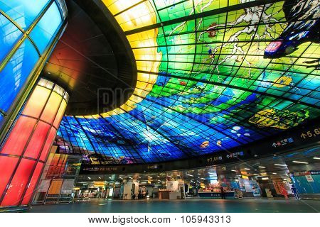 Kaohsiung, Taiwan - November 05, 2014: The Dome Of Light At Formosa Boulevard Station, The Central S