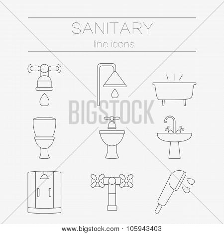 Vector set of sanitary engineering icons, including tools.