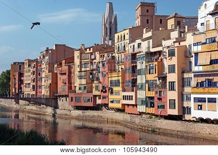 View Of The Old Town With Colorful Houses Reflected In Water Jewish Quarter In Girona. Catalonia. Sp