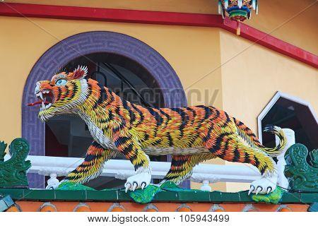 Detail Of The Tiger At Dragon And Tiger Pagodas Of Lotus Pond, Kaohsiung