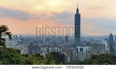 Sunset Over Taipei, In Taiwan