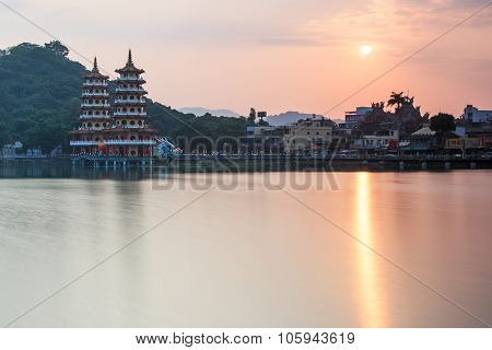 Dragon And Tiger Pagodas At Sunset, In Lotus Pond, Kaohsiung, Taiwan