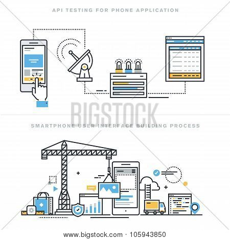 Flat line design vector illustration concepts for mobile app development and API testing