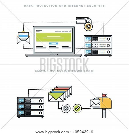 Flat line design vector illustration concepts for internet security and email protection