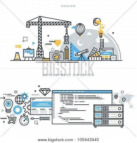Flat line design vector illustration concepts for graphic design and SEO