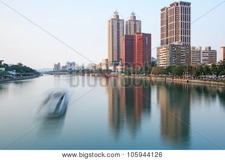 Kaohsiung, Taiwan - December 18,2014: Panoramic View Of The Love River Of Kaohsiung From The Bridge