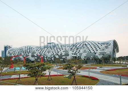 Kaohsiung, Taiwan - December 18, 2014: The Newly Opened Kaohsiung Exhibition Center During The 2014