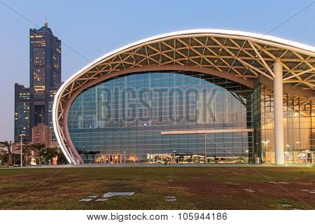 Kaohsiung, Taiwan - December 18, 2014: The Newly Opened Kaohsiung Exhibition Center And The 85 Build