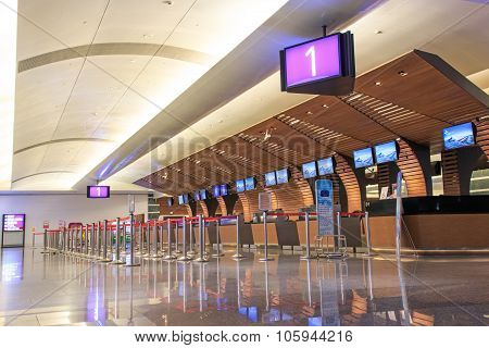 Taipei, Taiwan - January 9, 2015: Counters Inside The Taiwan Taoyuan International Airport, The Busi