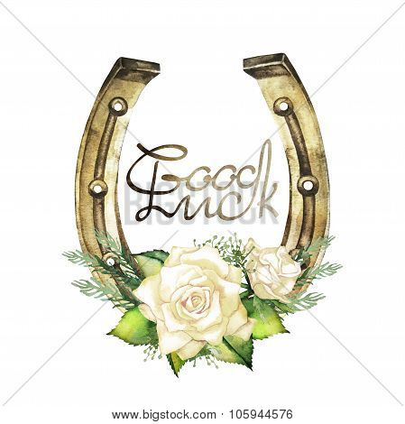 Horseshoes in golden color with white roses
