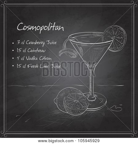 Cosmopolitan on black board
