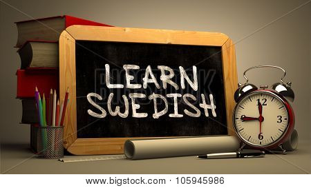 Learn Swedish - Chalkboard with Inspirational Quote.
