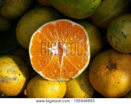 Fruit and food. Half tangerine
