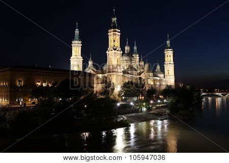 View Of The Basilica Of The Virgen Del Pilar And Ebro River