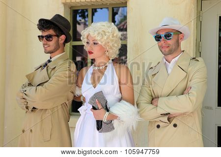 Barcelona Spain - June 16: Impersonator Marylin Monroe And Boys In Barselona Spain 16 June 2013. Mar