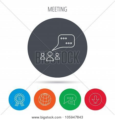 Meeting icon. Chat speech bubbles sign.