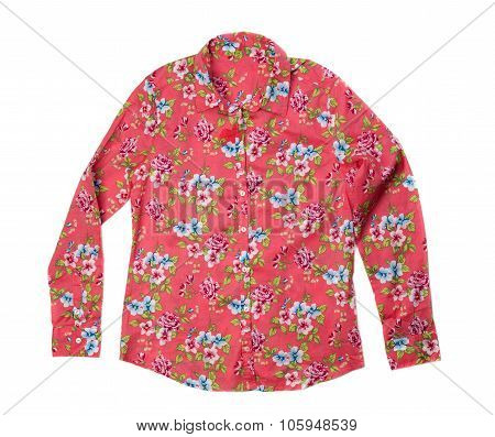 Red Shirt With A Floral Design