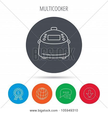 Multicooker icon. Kitchen electric device symbol