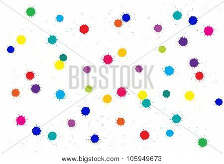 Vector absract bright colored ink blots