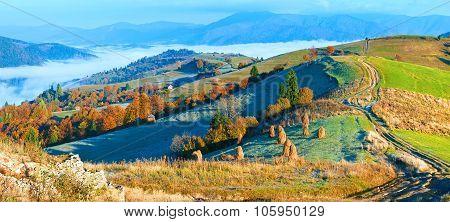 Autumn Misty Morning Mountain Panorama