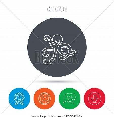 Octopus icon. Ocean devilfish sign.
