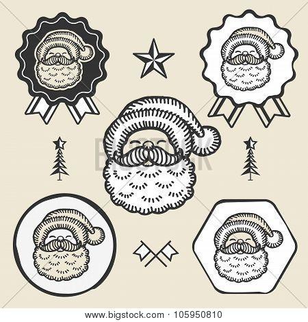 Santa claus symbol emblem label collection