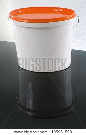 White Plastic Painter Container With Orange Cap - Mockup