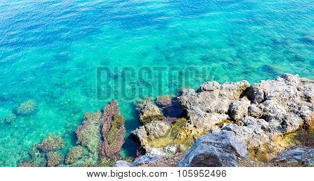 Underwater sea background. Blue transparent turquoise water.