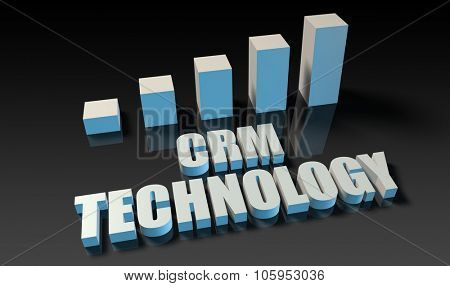 Crm technology graph chart in 3d on blue and black