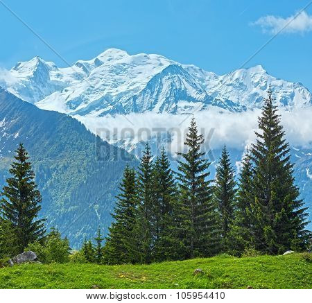Mont Blanc Mountain Massif (view From Plaine Joux Outskirts)