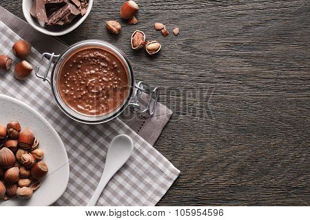 Food background of hazelnut spread