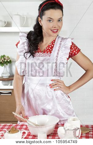 Young Housewife Cooking