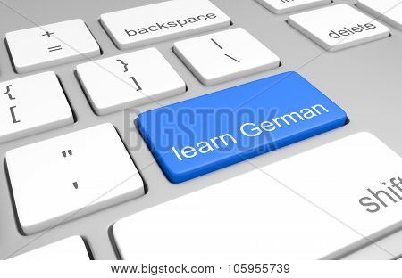Learn German key on a computer keyboard for online classes on speaking, reading, and writing the lan