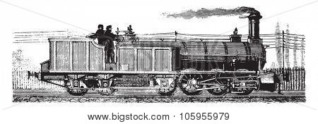 Wonders of the industry, The locomotive and tender, vintage engraved illustration. Magasin Pittoresque 1877.