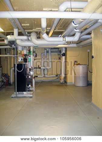 Ventilation and water conduit pipe room