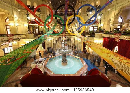 Moscow - Feb 8: Gum Store In Olympic Rings On Xxii Olympic And Xi Paralympic Winter Games 2014 In So