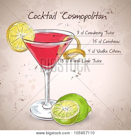 Red Cosmopolitan Cocktail