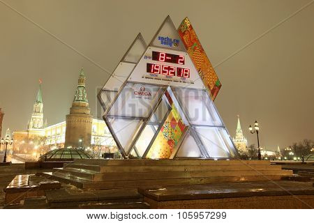 Moscow Feb 8:olympic Countdown Clock Time To The Xxii Olympic And Xi Paralympic Winter Games 2014 In