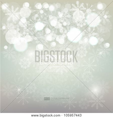 Abstract blurred vector background with sparkle stars, bokeh and snowflake. For decorations for Merry Christmas, New Year, anniversaries, festivals, xmas celebration. Abstract Winter background.