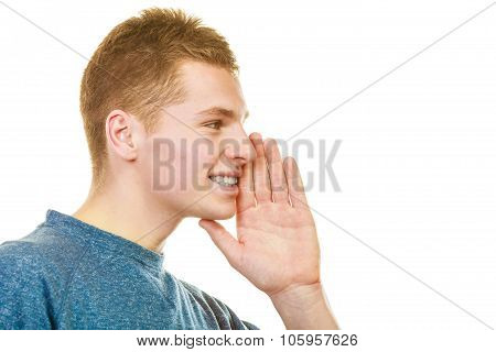 Man Face Profile With Hand Gesture Speaking