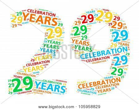 Colorful word cloud for celebrating a 29 year birthday or anniversary