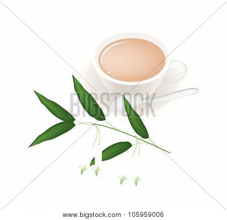 Cup Of Tea With Solomons Seal Flowers