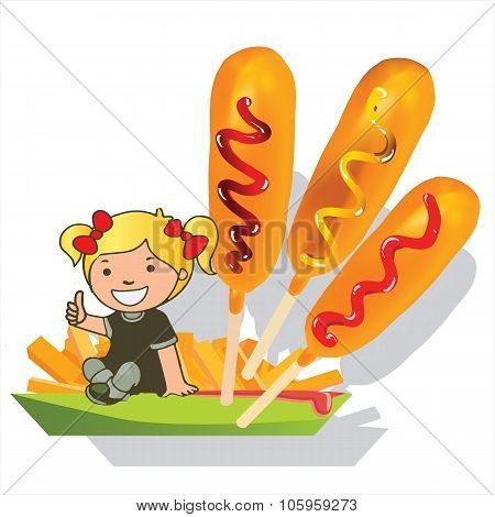 little girl  corn dog and fries vector cartoon