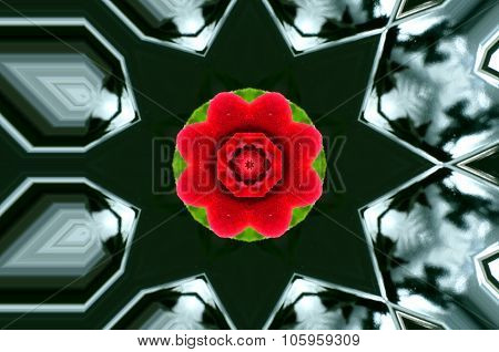 Illustration Of Black Geometric Shapes With Red-green Center