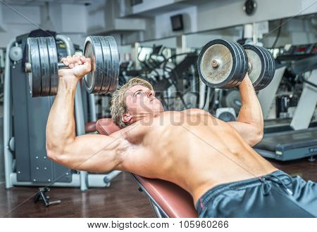 Young Bodybuilder Training Hard