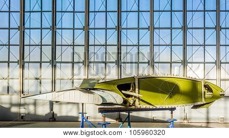 Wing of aircraft in repair