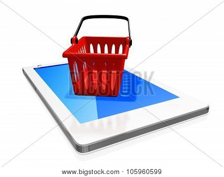 Red Plastic Shipping Basket On White Smart Phone
