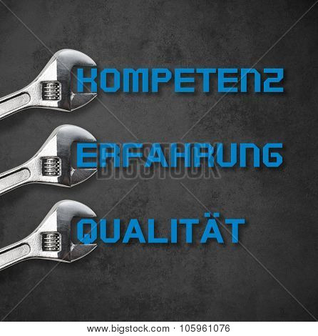 Wrench Holds Lettering, Compentence-quality-experience