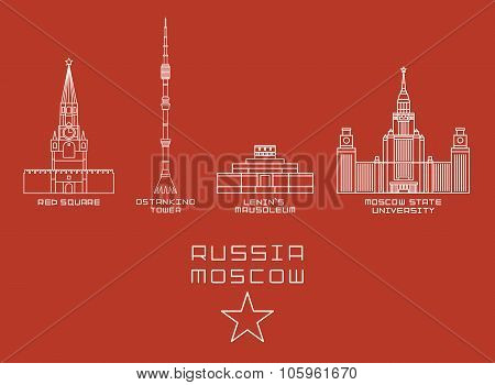 Russia Moscow city thin line icon set -Red Square, Ostankino Tower, Lenin's Mausoleum, State Univers