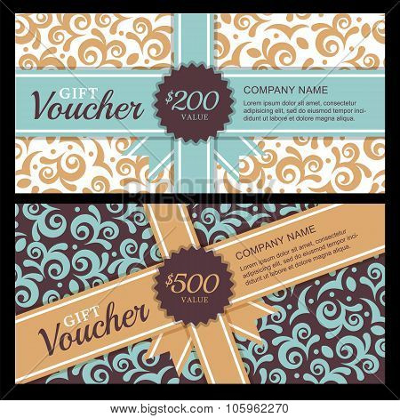 Vector Gift Voucher With Vintage Ornament Background And Ribbon.